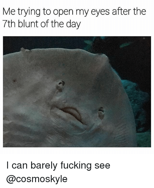 Blunted: Me trying to open my eyes after the  7th blunt of the day I can barely fucking see @cosmoskyle
