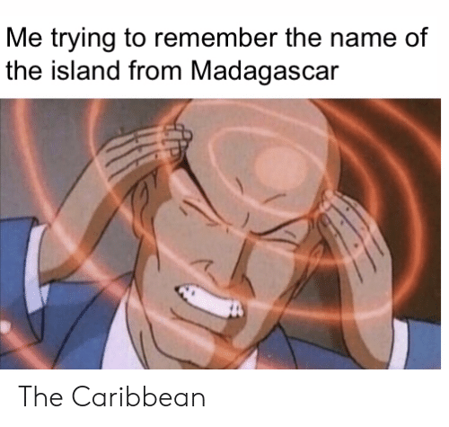 name of: Me trying to remember the name of  the island from Madagascar The Caribbean