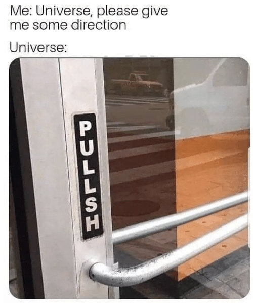 Me Some: Me: Universe, please give  me some direction  Universe:  PULLSH