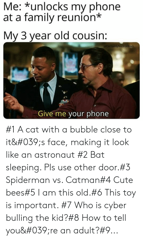 astronaut: Me: *unlocks my phone  at a family reunion*  My 3 year old cousin:  WCertainlyNotironMan  Give me your phone #1 A cat with a bubble close to it's face, making it look like an astronaut #2 Bat sleeping. Pls use other door.#3 Spiderman vs. Catman#4 Cute bees#5 I am this old.#6 This toy is important. #7 Who is cyber bulling the kid?#8 How to tell you're an adult?#9...