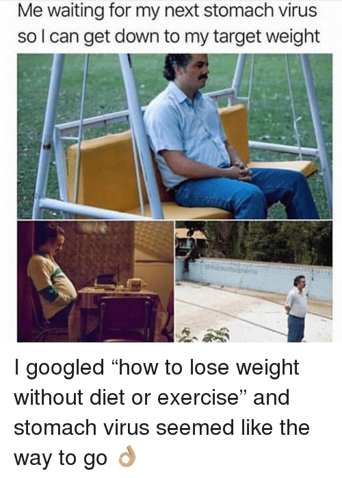 """Target, Exercise, and Girl Memes: Me waiting for my next stomach virus  so l can get down to my target weight I googled """"how to lose weight without diet or exercise"""" and stomach virus seemed like the way to go 👌🏽"""