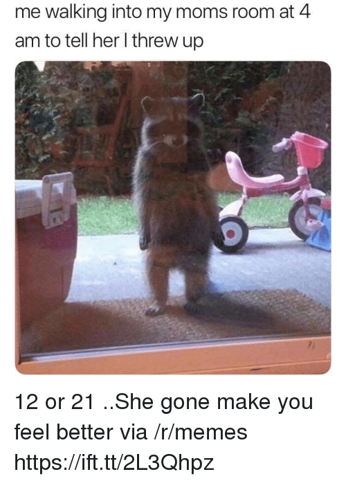 Memes, Moms, and Her: me walking into my moms room at 4  am to tell her l threw up 12 or 21 ..She gone make you feel better via /r/memes https://ift.tt/2L3Qhpz