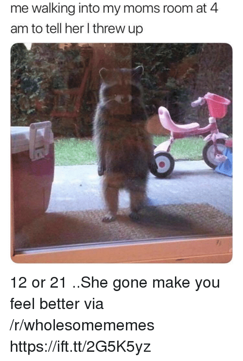 Moms, Her, and Gone: me walking into my moms room at 4  am to tell her l threw up 12 or 21 ..She gone make you feel better via /r/wholesomememes https://ift.tt/2G5K5yz