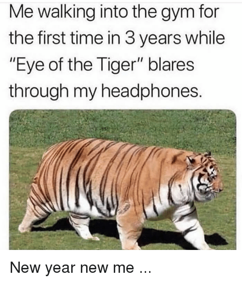 "Gym, New Year's, and Eye of the Tiger: Me walking into the gym for  the first time in 3 years while  ""Eye of the Tiger"" blares  through my headphones New year new me ..."