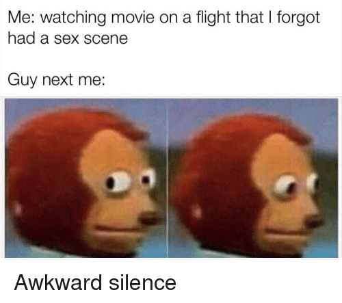 Awkward Silence: Me: watching movie on a flight that I forgot  had a sex scene  Guy next me: Awkward silence
