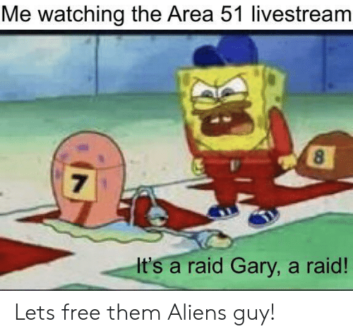 gary: Me watching the Area 51 livestream  8  7  It's a raid Gary, a raid! Lets free them Aliens guy!