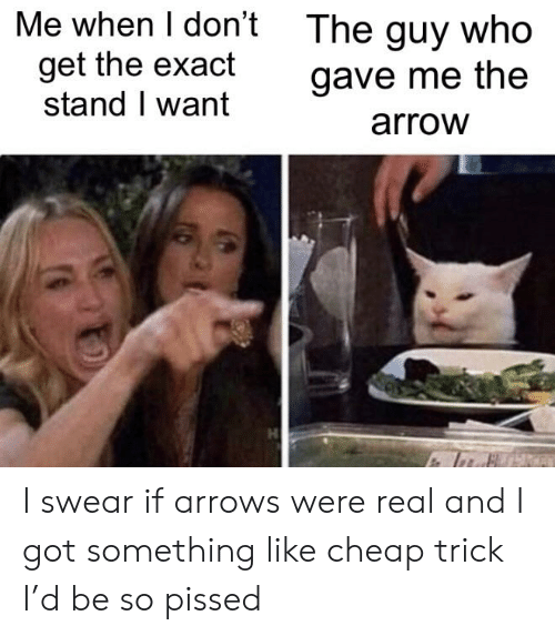 Arrow, Got, and Cheap Trick: Me when I don't  The guy who  get the exact  stand I want  gave me the  arrow I swear if arrows were real and I got something like cheap trick I'd be so pissed