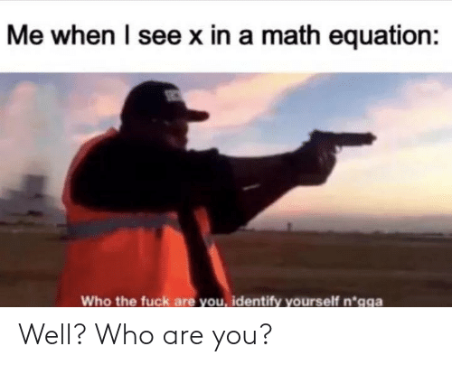 Me When I: Me when I see x in a math equation:  Who the fuck are you, identify yourself n*gga Well? Who are you?