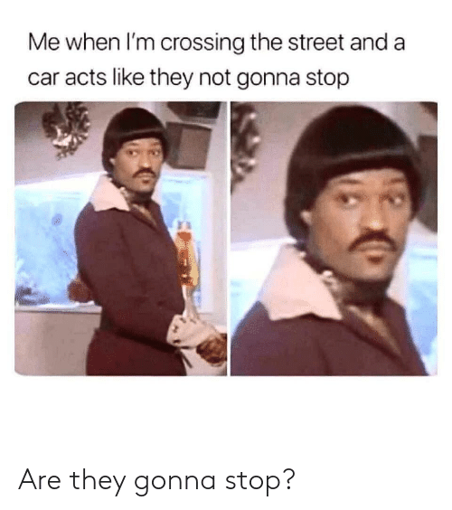 Car, They, and The Street: Me when I'm crossing the street and a  car acts like they not gonna stop Are they gonna stop?