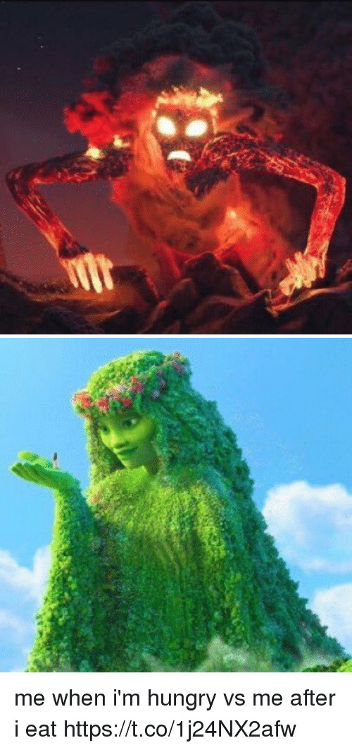 Funny, Hungry, and Eat: me when i'm hungry vs me after i eat https://t.co/1j24NX2afw