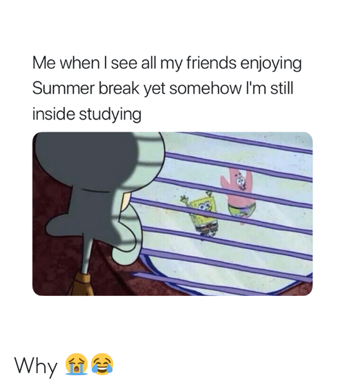 Friends, Summer, and Break: Me when l see all my friends enjoying  Summer break yet somehow I'm still  inside studying Why 😭😂