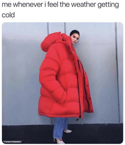 """The Weather: me whenever i feel the weather getting  cold  """"ITSMAYSMEMES"""""""