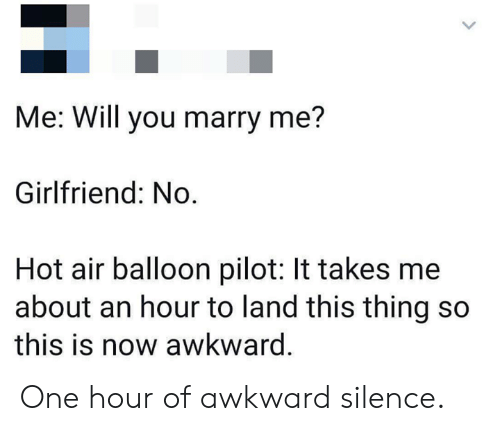 Awkward Silence: Me: Will you marry me?  Girlfriend: No  Hot air balloon pilot: It takes me  about an hour to land this thing so  this is now awkward. One hour of awkward silence.