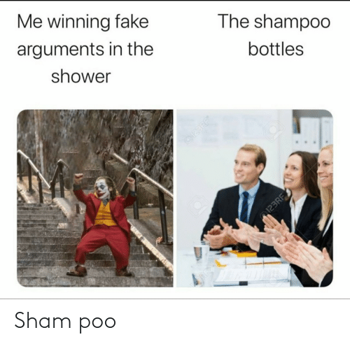 poo: Me winning fake  arguments in the  The shampoo  shower  bottles  123RF  123RF Sham poo