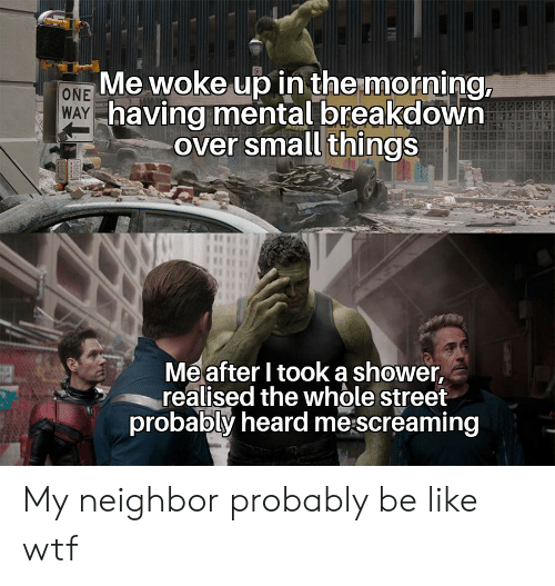 Be Like, Shower, and Wtf: Me woke up in the morning,  WAY having mental breakdown  over small things  ONE  Meafter I tooka shower,  realised the whole street  probably heard me screaming My neighbor probably be like wtf