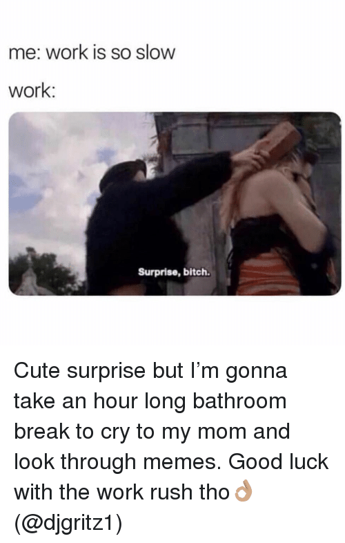 Bitch, Cute, and Memes: me: work is so slow  work:  Surprise, bitch. Cute surprise but I'm gonna take an hour long bathroom break to cry to my mom and look through memes. Good luck with the work rush tho👌🏽 (@djgritz1)