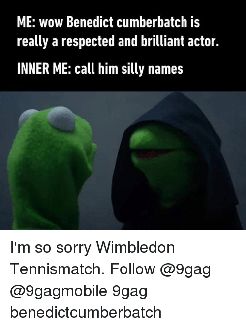 silliness: ME: wow Benedict cumberbatch is  really a respected and brilliant actor.  INNER ME: call him silly names I'm so sorry Wimbledon Tennismatch. Follow @9gag @9gagmobile 9gag benedictcumberbatch