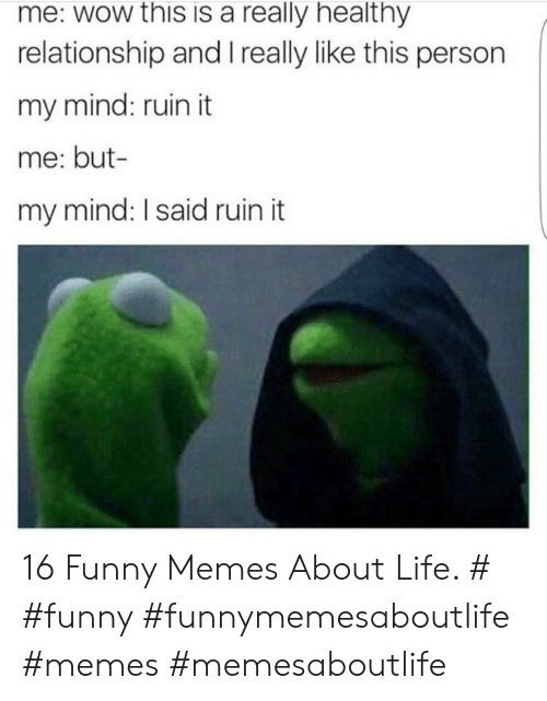Funny Memes About Life: me: wow this is a really healthy  relationship and I really like this person  my mind: ruin it  me: but-  my mind: I said ruin it 16 Funny Memes About Life. # #funny #funnymemesaboutlife #memes #memesaboutlife