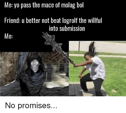Yo Pass The: Me: yo pass the mace of molag bol  Friend: u better not beat logrolf the willful  Me:  into submission No promises...
