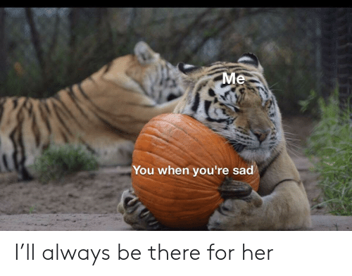 Sad, Her, and You: Me  You when you're sad I'll always be there for her
