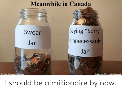 """Swear Jar: Meanwhile in Canada  Saying """"Sorry'  Unnecessarily  Swear  Jar  Jar  Instagram: MeanwhileinCanadal  Twitter:@MeanwhileinCana I should be a millionaire by now."""