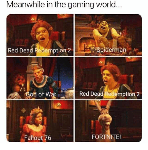 Fallout, Spiderman, and World: Meanwhile in the gaming world  Red Dead Redemption 2  Spiderman  d of War  Red Dead Redemption 2  Fallout 76  FORTNITE!