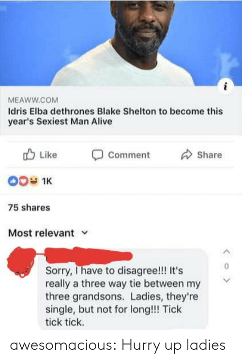 hurry: MEAWW.COM  Idris Elba dethrones Blake Shelton to become this  year's Sexiest Man Alive  Like  Comment  Share  00 1K  75 shares  Most relevant  Sorry, Ihave to disagree!! It's  really a three way tie between my  three grandsons. Ladies, they're  single, but not for long!!! Tick  tick tick.  < o > awesomacious:  Hurry up ladies