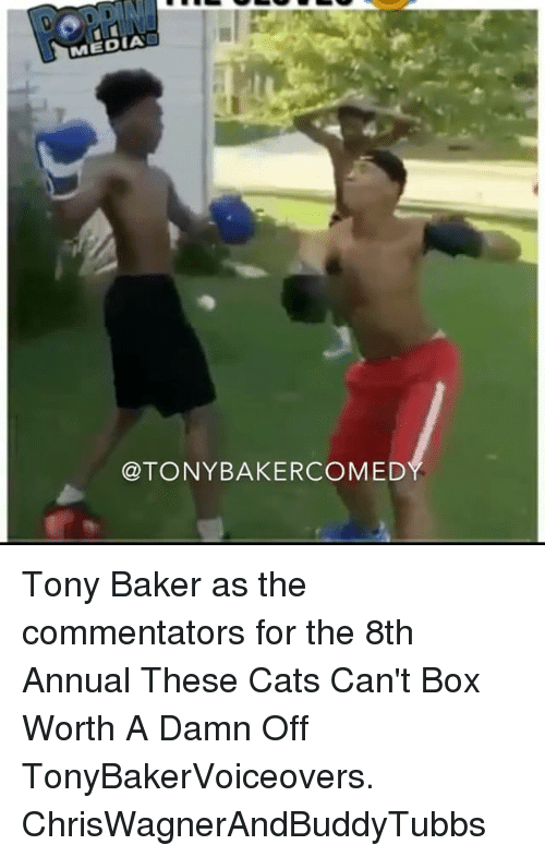 Bakerate: MEDIA  @TONYBAKERCOMED Tony Baker as the commentators for the 8th Annual These Cats Can't Box Worth A Damn Off TonyBakerVoiceovers. ChrisWagnerAndBuddyTubbs