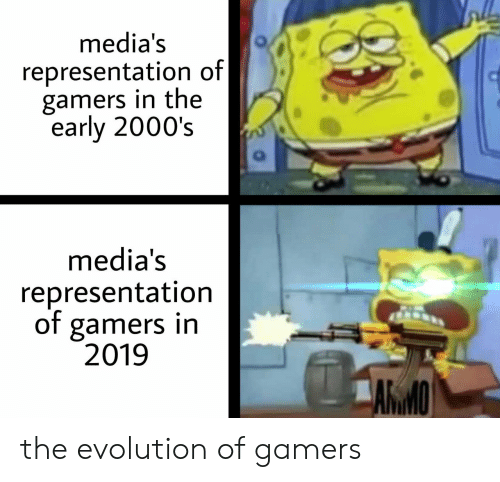 2000s: media's  representation of|  gamers in the  early 2000's  media's  representation  of gamers in  2019  ARMO the evolution of gamers