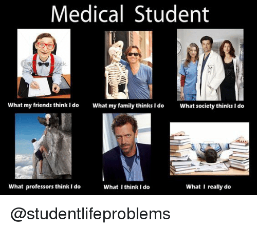 What I really do: Medical Student  What my friends think ldo  What my family thinks I do  What society thinks I do  What professors think I do  What I think I do  What I really do @studentlifeproblems