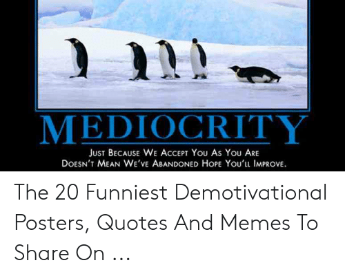 Funny Leadership Meme: MEDIOCRITY  JUST BECAUSE WE ACCEPT You As YoU ARE  DOESN'T MEAN WE'VE ABANDONED HoPE You'lu IMPROVE. The 20 Funniest Demotivational Posters, Quotes And Memes To Share On ...