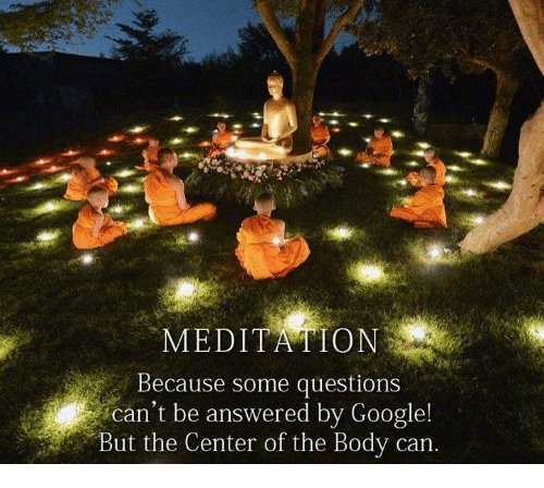 Meditative: MEDIT RATON  Because some questions  Can't be answered by Google!  But the Center of the Body can.
