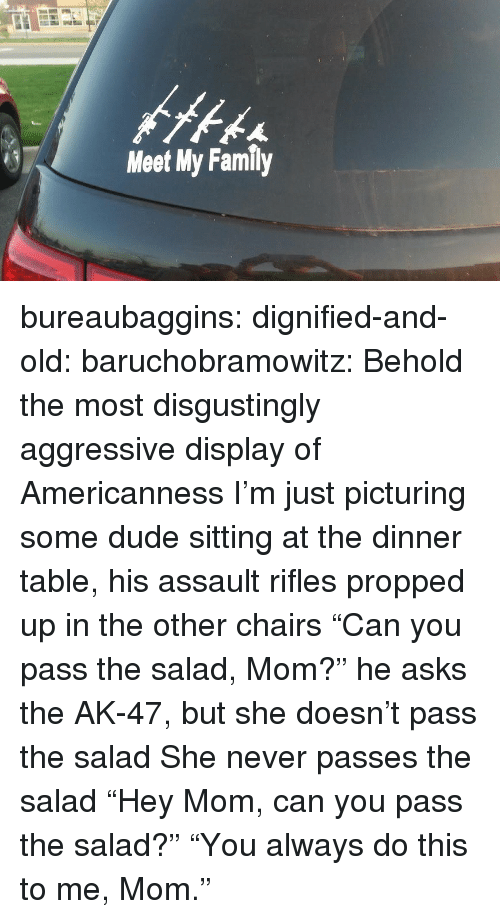 """Americanness: Meet My Family bureaubaggins:  dignified-and-old:  baruchobramowitz:  Behold the most disgustingly aggressive display of Americanness  I'm just picturing some dude sitting at the dinner table, his assault rifles propped up in the other chairs """"Can you pass the salad, Mom?"""" he asks the AK-47, but she doesn't pass the salad She never passes the salad  """"Hey Mom, can you pass the salad?""""      """"You always do this to me, Mom."""""""