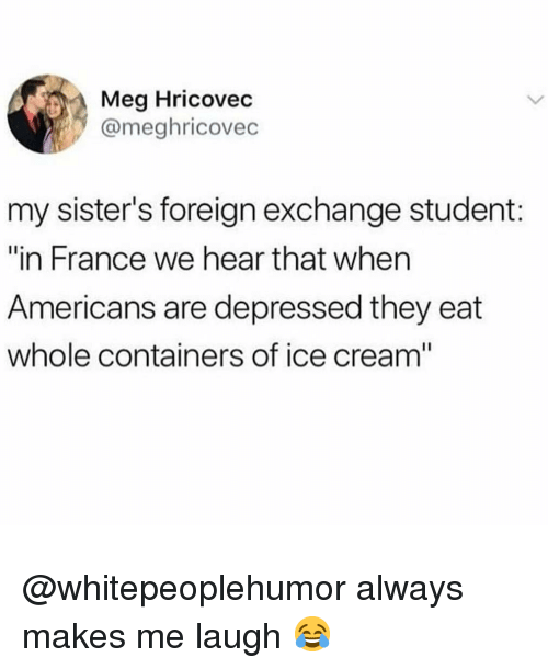 """Memes, France, and Ice Cream: Meg Hricovec  @meghricovec  my sister's foreign exchange student:  """"in France we hear that when  Americans are depressed they eat  whole containers of ice cream"""" @whitepeoplehumor always makes me laugh 😂"""