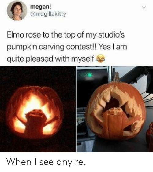 Elmo, Megan, and Pumpkin: megan!  @megillakitty  Elmo rose to the top of my studio's  pumpkin carving contest! Yes I am  quite pleased with myself When I see any re.