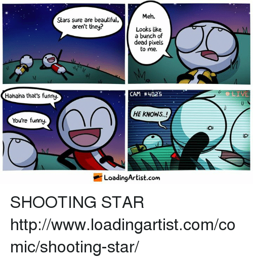 shooting stars: Meh.  Stars sure are beautiful,  aren't they?  Looks like  a bunch of  dead pixels  to me.  CAM #402S  Hahaha that's funny  HE KNOWS..!  You're funny.  LoadingArtist.com  O) SHOOTING STAR http://www.loadingartist.com/comic/shooting-star/