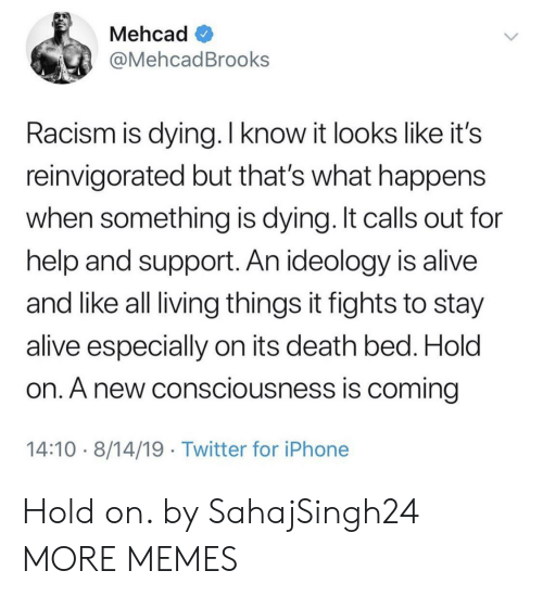Alive, Dank, and Iphone: Mehcad  @MehcadBrooks  Racism is dying. I know it looks like it's  reinvigorated but that's what happens  when something is dying. It calls out for  help and support. An ideology is alive  and like all living things it fights to stay  alive especially on its death bed. Hold  on. A new consciousness is coming  14:10 8/14/19 Twitter for iPhone Hold on. by SahajSingh24 MORE MEMES