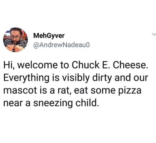 sneezing: MehGyver  @AndrewNadeau0  Hi, welcome to Chuck E. Cheese.  Everything is visibly dirty and our  mascot is a rat, eat some pizza  near a sneezing child