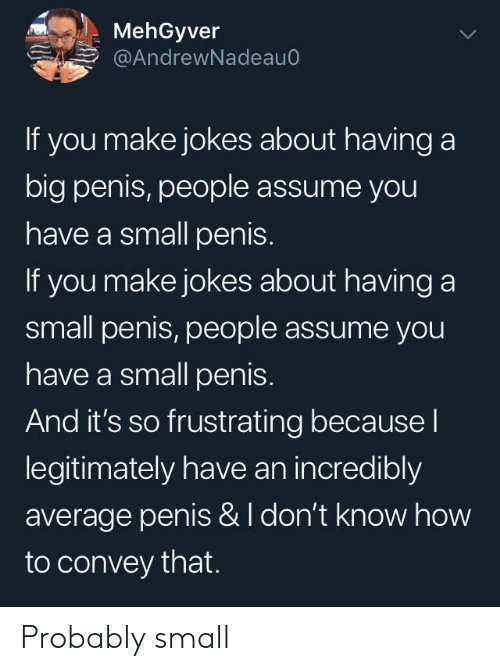 frustrating: MehGyver  @AndrewNadeauo  If you make jokes about having a  big penis, people assume you  have a small penis.  If you make jokes about having a  small penis, people assume you  have a small penis.  And it's so frustrating because l  legitimately have an incredibly  average penis & I don't know how  to convey that. Probably small