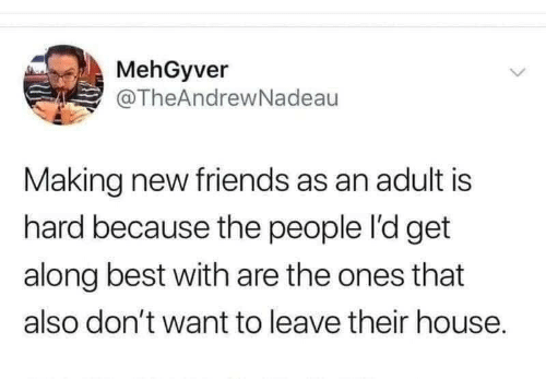 Friends: MehGyver  @TheAndrewNadeau  Making new friends as an adult is  hard because the people l'd get  along best with are the ones that  also don't want to leave their house.
