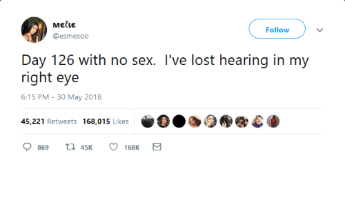 Sex, Lost, and Eye: MEILE  @esmexoo  Follow  Day 126 with no sex. I've lost hearing in my  right eye  6:15 PM - 30 May 2018  45,221 Retweets 168,015 Likes  869 t 45 168K