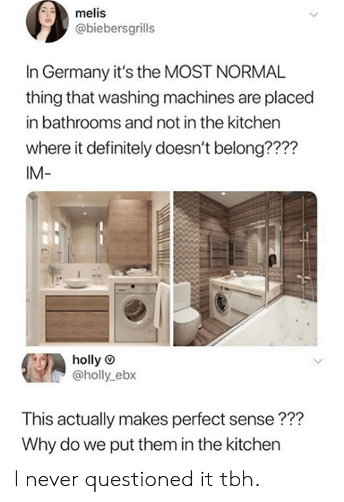 makes-perfect-sense: melis  @biebersgrills  In Germany it's the MOST NORMAL  thing that washing machines are placed  in bathrooms and not in the kitchen  where it definitely doesn't belong????  IM-  holly  @holly_ebx  This actually makes perfect sense???  Why do we put them in the kitchen I never questioned it tbh.