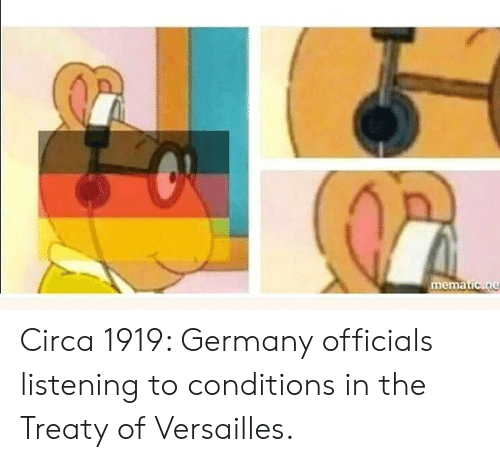 versailles: mematic ne Circa 1919: Germany officials listening to conditions in the Treaty of Versailles.