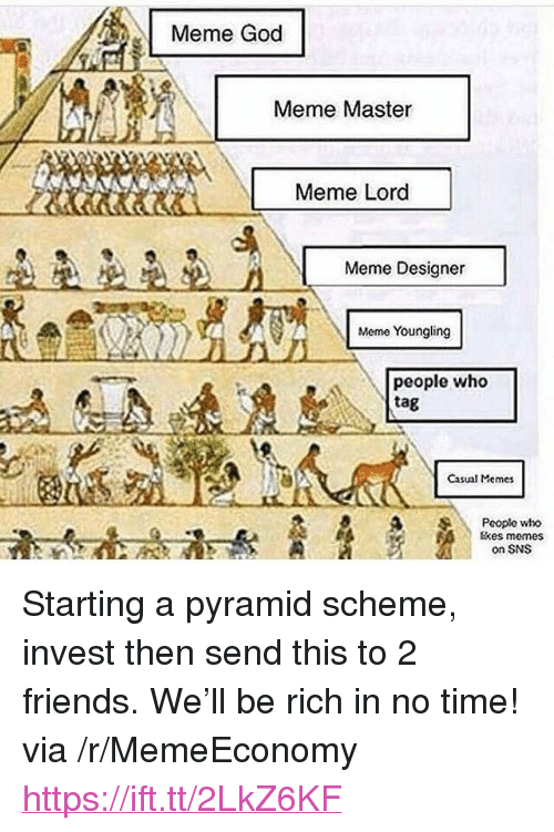 "Friends, God, and Meme: Meme God  Meme Master  Meme Lord  Meme Designer  Meme Youngling  people who  tag  Casual Memes  Pooplo who  tkes memes  on SNS <p>Starting a pyramid scheme, invest then send this to 2 friends. We'll be rich in no time! via /r/MemeEconomy <a href=""https://ift.tt/2LkZ6KF"">https://ift.tt/2LkZ6KF</a></p>"