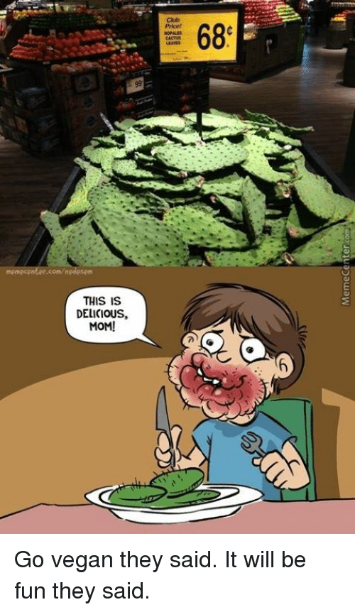 it will be fun they said: memecenter.com/nedesem  THIS IS  DELICIOUS.  MOM!  68 Go vegan they said. It will be fun they said.