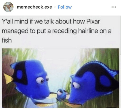 Managed: memecheck.exe · Follow  Y'all mind if we talk about how Pixar  managed to put a receding hairline on a  fish