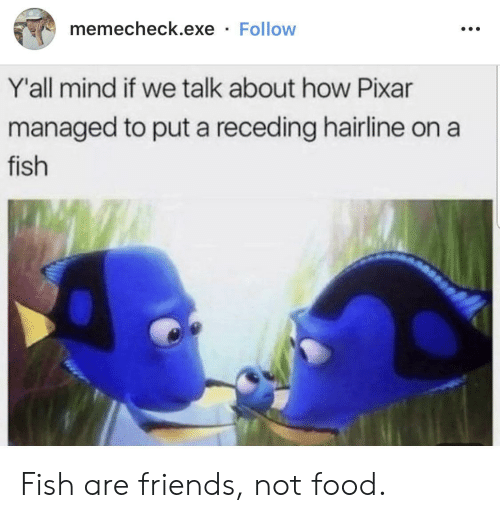 Managed: memecheck.exe Follow  Y'all mind if we talk about how Pixar  managed to put a receding hairline on  fish Fish are friends, not food.