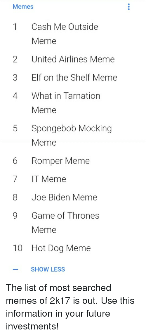 game of thrones meme: Memes  1 Cash Me Outside  Meme  2United Airlines Meme  3 Elf on the Shelf Meme  4 What in Tarnation  Meme  5 Spongebob Mocking  Meme  6 Romper Meme  7 IT Meme  8 Joe Biden Meme  9 Game of Thrones  Meme  10  Hot Dog Meme  -SHOW LESS The list of most searched memes of 2k17 is out. Use this information in your future investments!