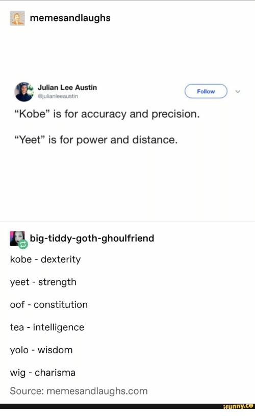 "julian: memesandlaughs  Julian Lee Austin  @julianleeaustin  Follow  ""Kobe"" is for accuracy and precision.  35  ""Yeet"" is for power and distance  big-tiddy-goth-ghoulfriend  kobe - dexterity  yeet - strength  oof - constitution  tea - intelligence  yolo - wisdom  wig - charisma  Source: memesandlaughs.com  funny.ce"
