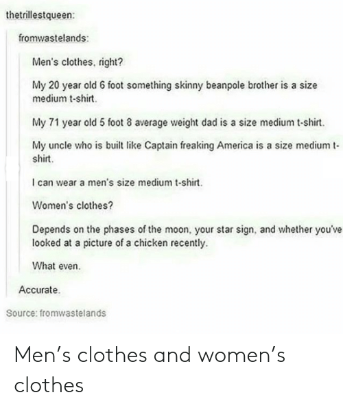 Clothes: Men's clothes and women's clothes